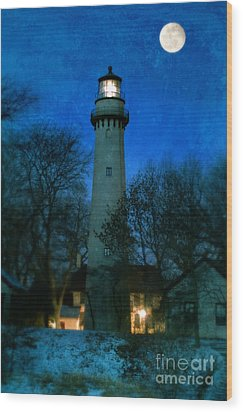 Grosse Point Lighthouse Before Dawn Wood Print by Jill Battaglia
