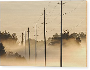 Ground Fog With High Wires Wood Print by Bruce Kenny