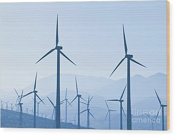 Group Of Wind Turbines Wood Print by Dave & Les Jacobs