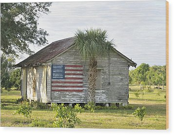 Grove Shack With Flag Wood Print by Bradford Martin