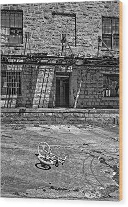 Growing Up...an Economics Tale Bw Wood Print by Steve Harrington