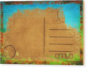 Grunge Color On Old Postcard Wood Print by Setsiri Silapasuwanchai