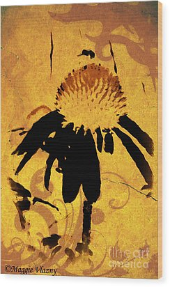 Grunge  Daisy Art Wood Print