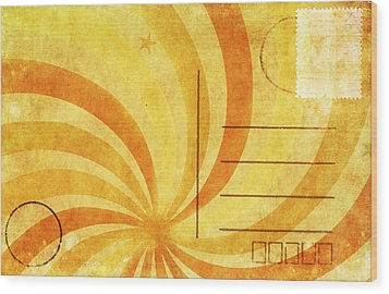 Grunge Ray On Old Postcard Wood Print by Setsiri Silapasuwanchai