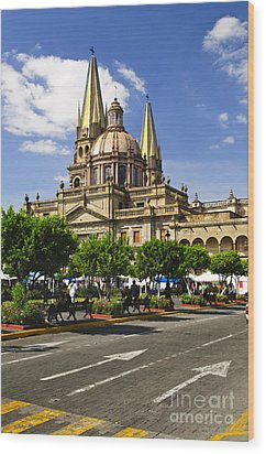Guadalajara Cathedral Wood Print by Elena Elisseeva