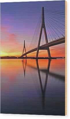 Guadiana Bridge Over Sunset Wood Print by Juampiter