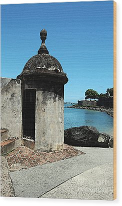 Guard Post Castillo San Felipe Del Morro San Juan Puerto Rico Watercolor Wood Print by Shawn O'Brien