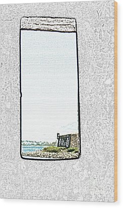 Guard Tower View Castillo San Felipe Del Morro San Juan Puerto Rico Colored Pencil Wood Print by Shawn O'Brien