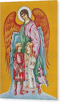 Guardian Angel For Children Wood Print
