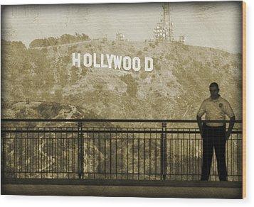 Guarding Hollywood Wood Print by Ricky Barnard