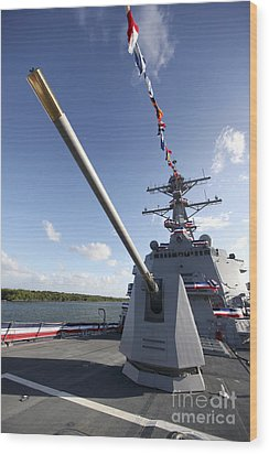 Guided-missile Destroyer Uss Jason Wood Print by Stocktrek Images