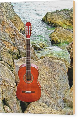 Guitar By The Sea Wood Print