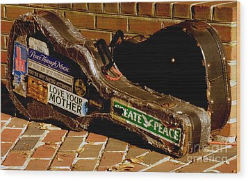 Guitar Case Messages Wood Print by Lainie Wrightson