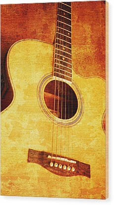 Guitar On Old  Wall Wood Print by Nattapon Wongwean