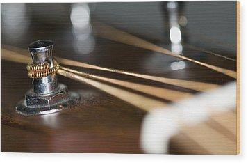 Guitar String Windings Wood Print by C Ribet