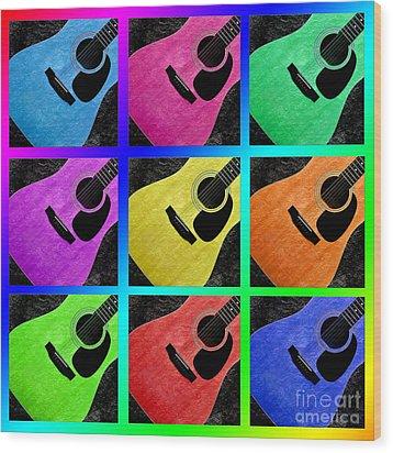 Guitar Tic Tac Toe Rainbow Wood Print by Andee Design