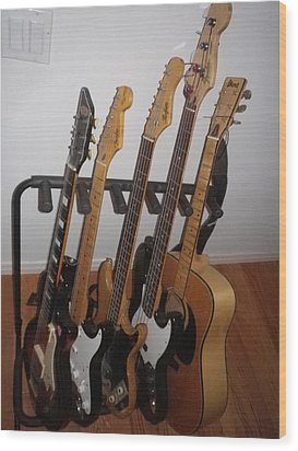 Guitars Wood Print by Michael Titherington