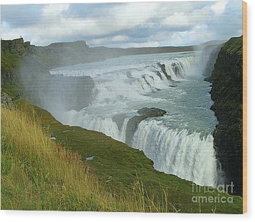 Gullfoss Waterfalls  Iceland Wood Print by Louise Peardon