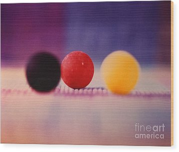 Gumballs On Placemat Wood Print by Christine Perry