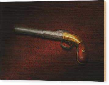 Gun - The Shooting Iron Wood Print by Mike Savad