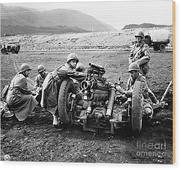 Gun Crew Prepares To Fire A 37mm Wood Print by Stocktrek Images