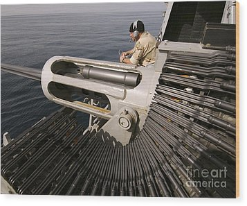 Gunner Manning A Mk-38 25mm Heavy Wood Print by Stocktrek Images