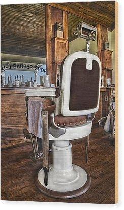 H J Barber Shop Wood Print by Susan Candelario