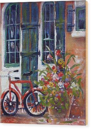 Habersham Bike Shop Wood Print by Gertrude Palmer