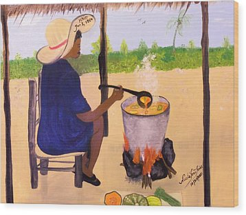 Haitian Pumpkin Soup Wood Print by Nicole Jean-Louis
