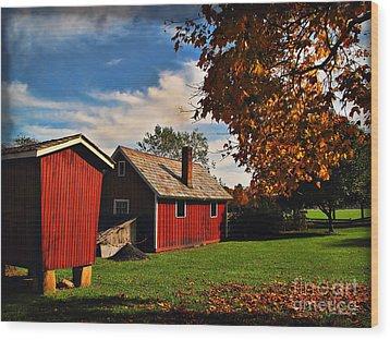 Hale Farm In Autumn Wood Print by Joan  Minchak