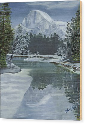 Half Dome Reflections Wood Print by Lana Tyler