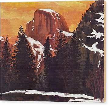 Half Dome Sunset Wood Print by Sara Coolidge