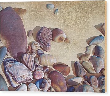 Hallett Cove's Stones Wood Print by Elena Kolotusha