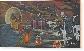 Wood Print featuring the painting Halloween Circus by Christophe Ennis
