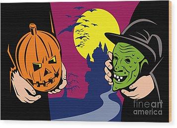 Halloween Mask Jack-o-lantern Witch Retro Wood Print by Aloysius Patrimonio