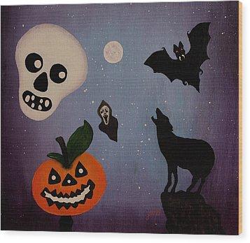 Halloween Night Original Acrylic Painting Placemat Wood Print by Georgeta  Blanaru