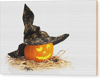 Halloween Pumpkin With Witches Hat Wood Print by Amanda Elwell