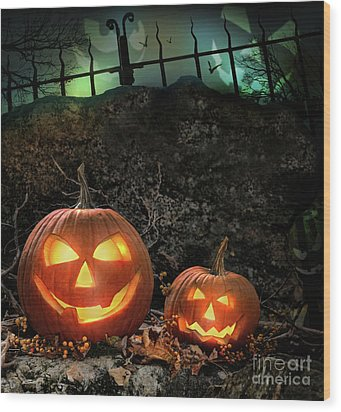 Halloween Pumpkins On Rocks  At Night Wood Print by Sandra Cunningham