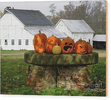 Halloween Scene Wood Print by Lainie Wrightson