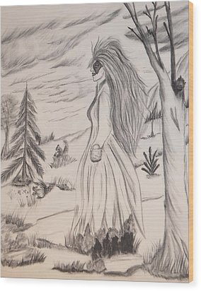 Halloween Witch Walk Wood Print by Maria Urso