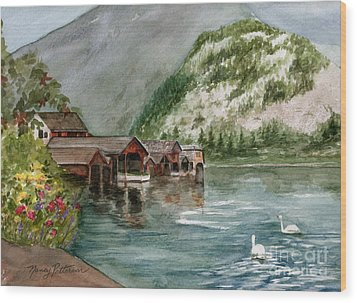 Wood Print featuring the painting Hallstatt In The Spring  by Nancy Patterson