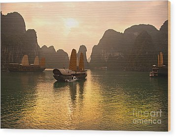 Wood Print featuring the photograph Halong Bay - Vietnam by Luciano Mortula