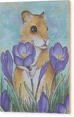 Hamster Picking Purple Crocus Wood Print by Debrah Nelson