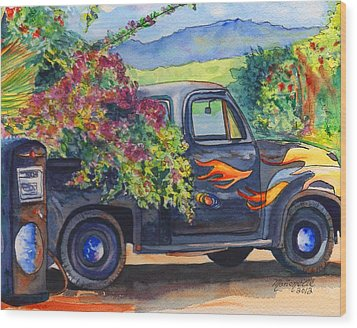 Hanapepe Truck Wood Print by Marionette Taboniar