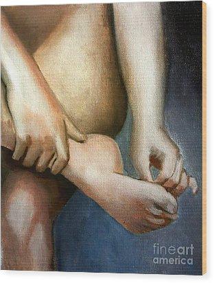 Hand And Foot Wood Print by Kostas Koutsoukanidis