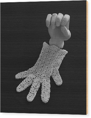 Wood Print featuring the sculpture Hand And Glove by Barbara St Jean