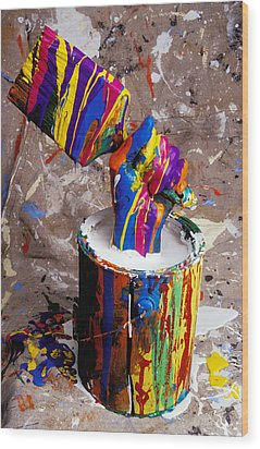 Hand Coming Out Of Paint Bucket Wood Print by Garry Gay