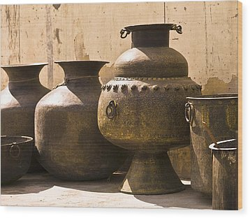 Hand Crafted Jugs, Jaipur, India Wood Print by Keith Levit