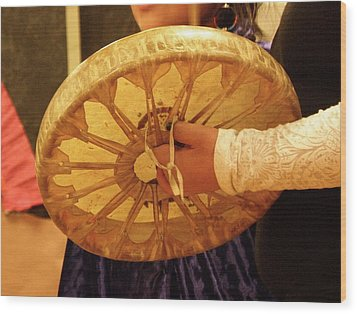 Hand Drum Wood Print by FeVa  Fotos