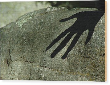 Hand On Stone Wood Print by Peg Toliver